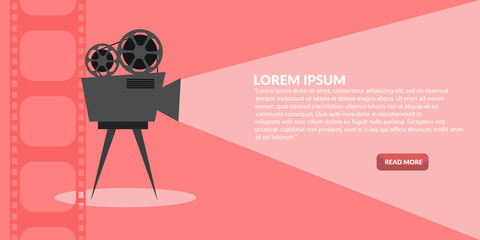Retro cinema icon with text place banner  eps 10 vector