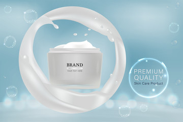White cosmetic container with advertising background ready to use, liquid splash skin care ad, vector illustration.