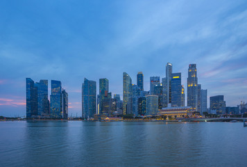 Wall Mural - Singapore city skyline at night in Singapore