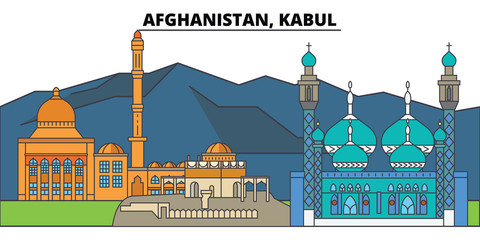 Afghanistan, Kabul. City skyline, architecture, buildings, streets, silhouette, landscape, panorama, landmarks, icons. Editable strokes. Flat design line vector illustration concept