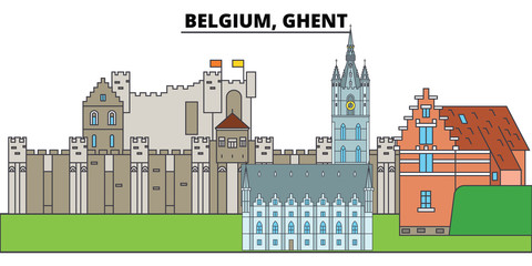 Belgium, Ghent. City skyline, architecture, buildings, streets, silhouette, landscape, panorama, landmarks, icons. Editable strokes. Flat design line vector illustration concept