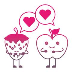 kawaii apple and strawberry speech bubble cartoon vector illustration gradient color