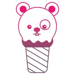 kawaii ice cream face mouse cartoon vector illustration gradient color
