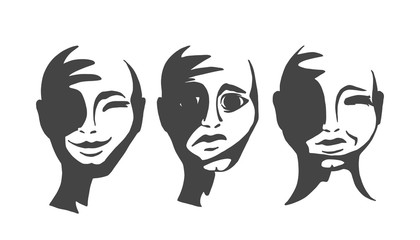 Silhouettes of people s faces. The head of a man with emotions. Vector illustration.