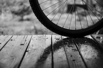 Bicycle wheel on the wooden floor under the rain in black and white