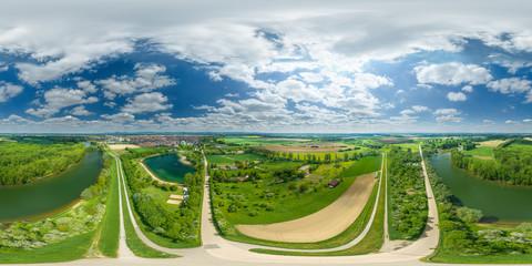 Luftbild 360° Lampertheim equirectangular Panorama