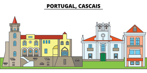 Portugal, Cascais. City skyline, architecture, buildings, streets, silhouette, landscape, panorama, landmarks, icons. Editable strokes. Flat design line vector illustration concept