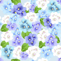 Vector botanical seamless pattern with violets flowers. Modern floral art in watercolor style for sales, 8 March, wedding, Valentine's Day, Mother's Day.