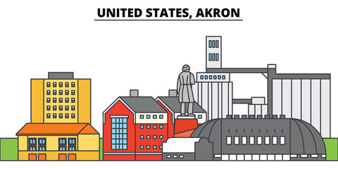 United States, Akron. City skyline, architecture, buildings, streets, silhouette, landscape, panorama, landmarks, icons. Editable strokes. Flat design line vector illustration concept
