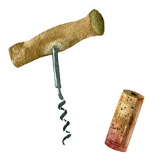 Watercolor illustration. Image of the corkscrew and wine cork.