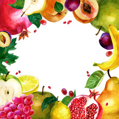 Watercolor illustration, frame of fruits. Vegetarian food. Apple, pear, pomegranate, grapes, lemon, plum, banana and peach