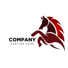 fire elegant Jumping horse logo