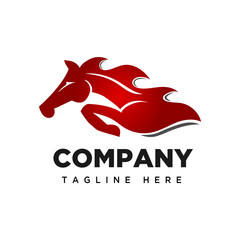 Jumping fire speed horse logo