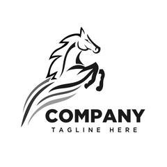 Jumping speed horse logo