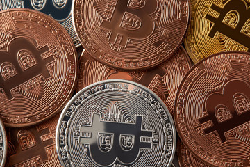 full frame shot of various bitcoins