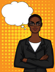 Vector colorful illustration of African American businesswoman in glasses with crossed arms.  Lady boss in office suit standing in front and smiling