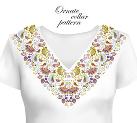 Oriental ornament with paisley and fantasy flowers. Vector design for collar shirts, blouses. Vector illustration. Trendy colors summer 2018