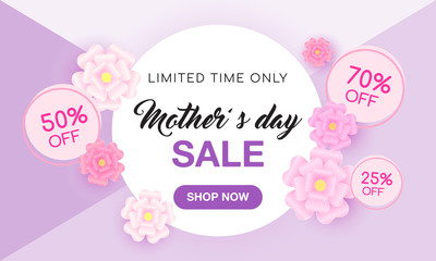 Mother's day sale vector illustration. Design with beautiful paper flowers.