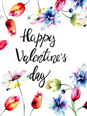 Stylized flowers with title Happy Valentines day