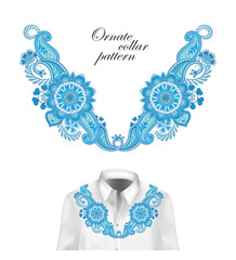 Oriental ornament with paisley and fantasy flowers. Vector design for collar shirts, blouses. Vector illustration. Blue