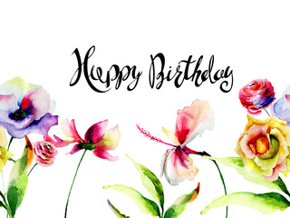 Wild flowers with title Happy Birthday