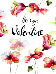 Wild flowers with title be my Valentine