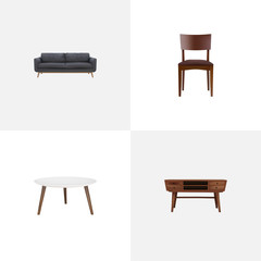 Set of furniture realistic symbols with commode, stool, round table and other icons for your web mobile app logo design.