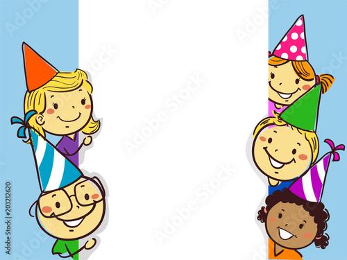 illustration of stick figure little children beside a white board