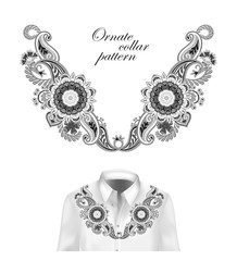 Oriental ornament with paisley and fantasy flowers. Vector design for collar shirts, blouses. Vector illustration. Black and white
