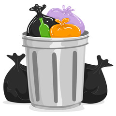 Illustration of Garbage Can full of Garbage Bags