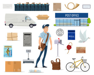 Postal service set with postman and post icon