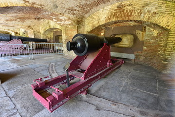 Heavy Cannon at an American Civil war coastal defence in Charleston Harbour, South Carolina.