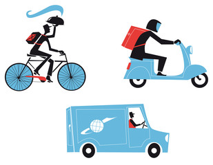 Delivery Workers Set, Packages And Move Service