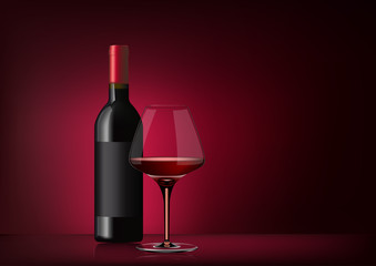 Vector image of a bottle of red wine with label and a full glass goblet in photorealistic style on a red dark background. 3d realism illustration