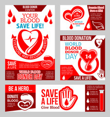 World Blood Donor Day banner with heart and drop