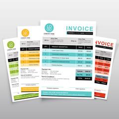 Invoice template vector design. Green ,yellow,blue and orange  minimal quotation design.