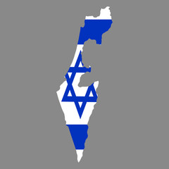 silhouette country borders map of Israel on national flag background of vector illustration