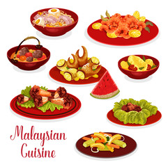 Malaysian cuisine dinner menu icon with asian food