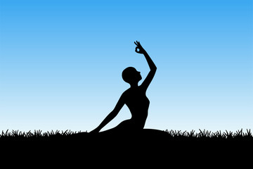 Yoga in morning. Vector illustration with isolated silhouette of yoga girl on grass. Blue pastel background