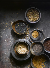 Assortment of seeds in bowls