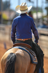 The rear view of a rider in jeans, cowboy chaps and blue shirt on a reining horseback in the red clay an arena.