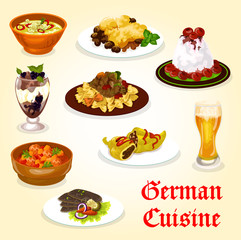 German cuisine dinner with meat dish and dessert