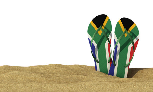 South Africa flag flip flop sandals on a white background. 3D Rendering