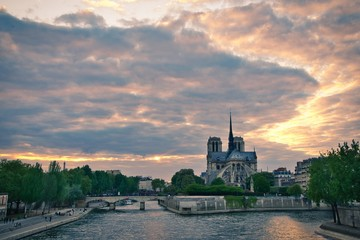 Wall Mural - End of Day near Notre Dame de Paris Cathedral