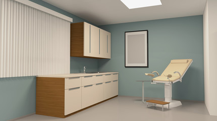 Gynecologist. Doctor's examination room. 3D rendering.. Empty paintings