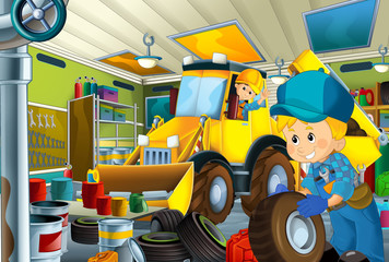 cartoon scene with mechanic in the garage working - illustration for children