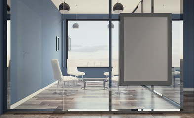 Open space office interior with like conference room. Mockup. 3D rendering.. Blank paintings