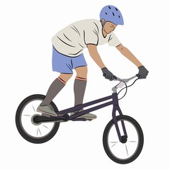 illustration of a cyclist - biketrial , vector draw