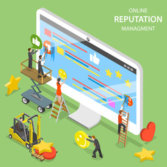 Reputation management flat isometric vector. Group of people are trying to replace negative symbols of customer feedbacks with positive ones.