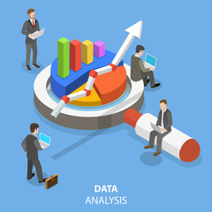 Data analysis flat isometric vector concept. A business team is investigating some information with around the huge magnifying glass and some kinds of finance charts and diagrams.